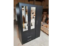 3 Door 2 Drawer Mirrored Wardrobe - Black