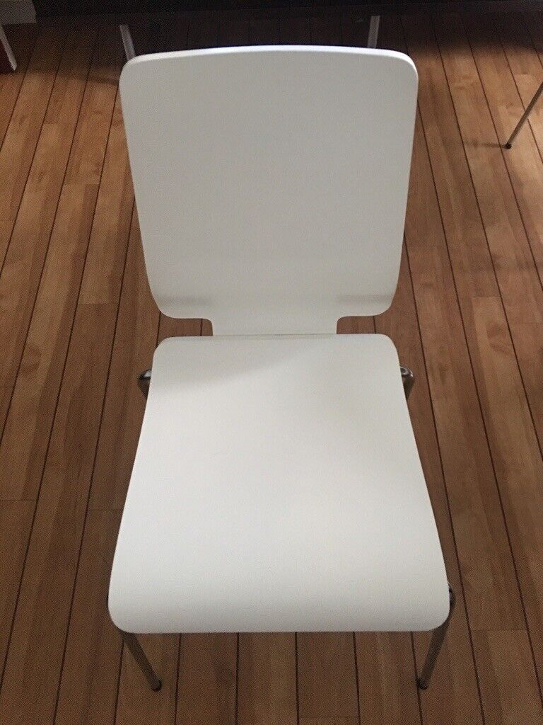 Four White And Chrome Stacking Dining Room Chairs In Broughty Ferry Dundee Gumtree