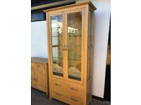Light Oak Display Cabinet & matching Sideboard - immaculate condition.