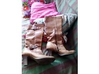 Brown knee high leather river island boots