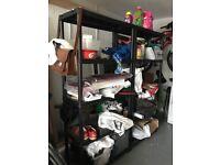 Black free standing set of shelves great for garage