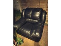 Two Genuine Leather Armchairs