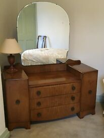 Walnut Dressing Table and Mirror