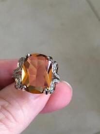 Ladies sterling silver ring with a genuine morginate stone hallmarked 925