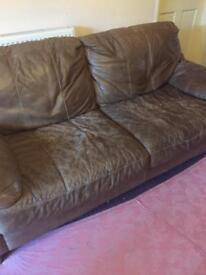 Leather 3 piece Sofa set.