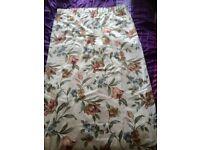 Flower print pair of curtains