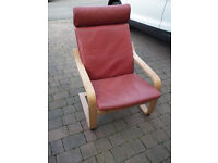 ikea red leather look oak frame