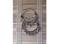 """New Sterling Silver 925 Vintage Bali Style 1.7"""" Ethnic Hoop Earrings"""