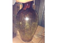 Large amber floor vase