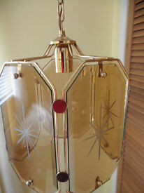 1970'S BROWN ONION GLASS LARGE LIGHTSHADE LIGHT LAMPSHADE