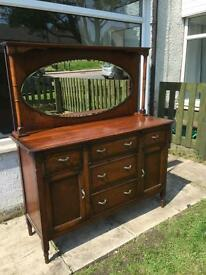 Welsh dresser solid oak with mirror £110 Ono