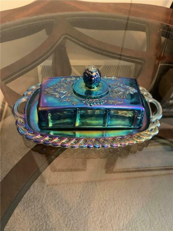 Genuine Antique Blue Iridescent Beautiful Original Carnival Glass Butter Dish