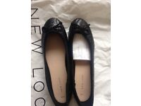 New look black flat shoes size 6