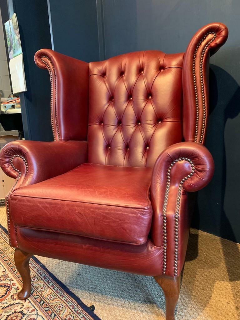 Leather chesterfield armchair - Queen Anne Wingback | in ...