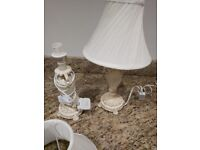2 x bedside lights/table lamps and shades - shabby chic style - cream/beige - used
