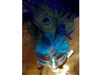 Venetian Mask Masquerade Italian Machera Del Galeone Turquoise Peacock Feathers Costume FANCY DRESS