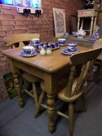 Stunning Reclaimed Farmhouse Solid Pine Kitchen Table & 2 Chairs - UK Delivery