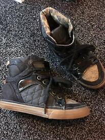 Next girls black and gold high tops size 11