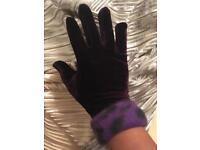 Glam Retro Vintage 50s purple velour velvet gloves Dalmatian Polka Costume Fancydress Christmas gift