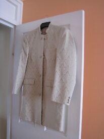 Hector James Mandarin Jacket, cream, medium.