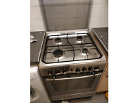 INDESIT STAINLESS STEEL 60CM WIDE GAS COOKER GOOD CONDITION