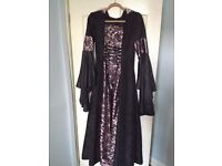 Black and pink medieval dress with hood