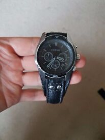 FOSSIL CH2586 Men round, chrono steel, cuff watch, black leather strap, black dial