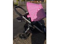Bugaboo donkey hood only pink & white