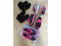 5 pair of girls shoes and roller shoes