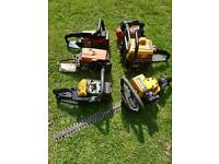 5 chainsaws and 1 hedge cutter for spares or repair