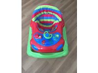 Car- shaped red/green/blue baby walker