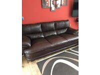 Large 3 seater brown leather sofa. Bargain price for quick sale