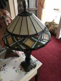 Beautiful lamp with Tiffany style shade.