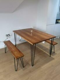 Bespoke dining/kitchen tables, desks, shelves with industrial hairpin legs