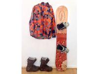 160cm Snowboard Complete Setup w/ Burton boots, Helmet, Jacket,Pants and gloves