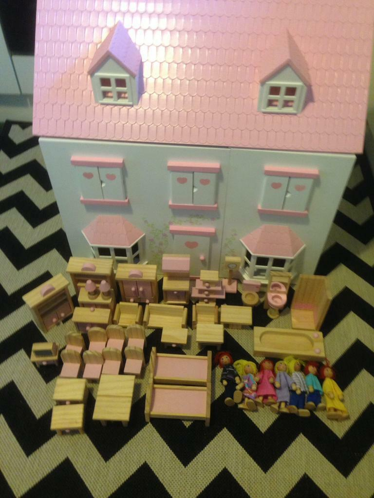 Wooden Dolls House & Furniture