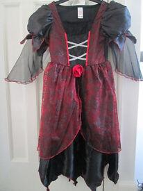 GIRLS HALLOWEEN DRESS AND LACE VEIL (HEADBAND) - AGE 6-8