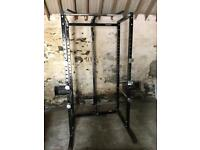 Power cage squat rack with cable system