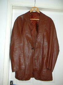 Smart Vintage Brown Leather Jacket / Austin Reed