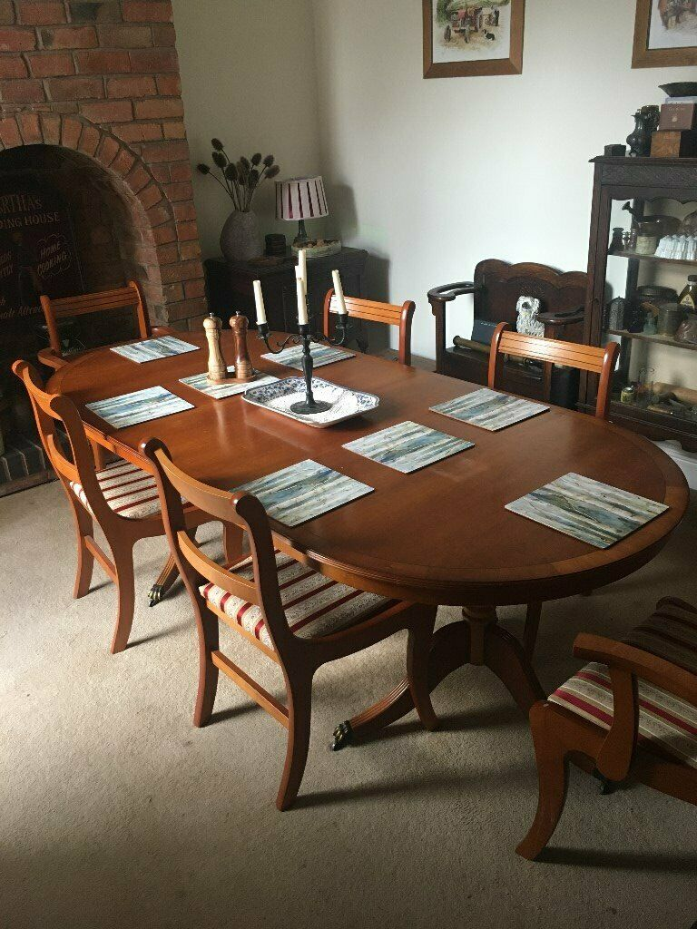 Vintage Yew Extending Dining Table and 8 Chairs   in ...