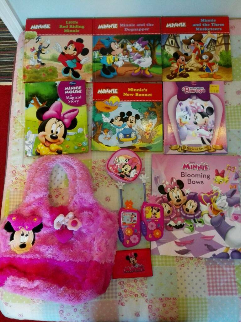MINNIE MOUSE CLUBHOUSE ITEMS BOOKS BAG TALKIE