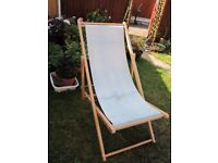 2 Wood and Canvas Deckchairs