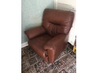 Leather sofa with armchair recliner £80