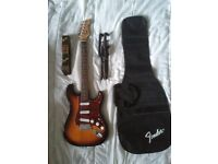 Squier by Fender Retro Strat Electric Guitar Sunburst Tortoiseshell + Bag