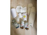 Cricket equipment used, including pads, helmet, shoes, bat and balls - free bag if you buy the lot