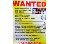 Wanted Gold Silver antiques Coins watches medals