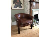 Brown Leather Studded Tub Chair