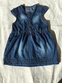 Baby girl's dress: Blue danim,George,100%cotton,made in Srilanka,size 9-12 mth