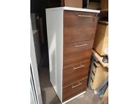 Lockable White band Walnut wood effect 4 drawer filing cabinet never been used