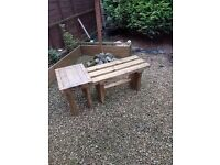 1200mm TIMBER BENCH with SIDE TABLE - DELIVERED